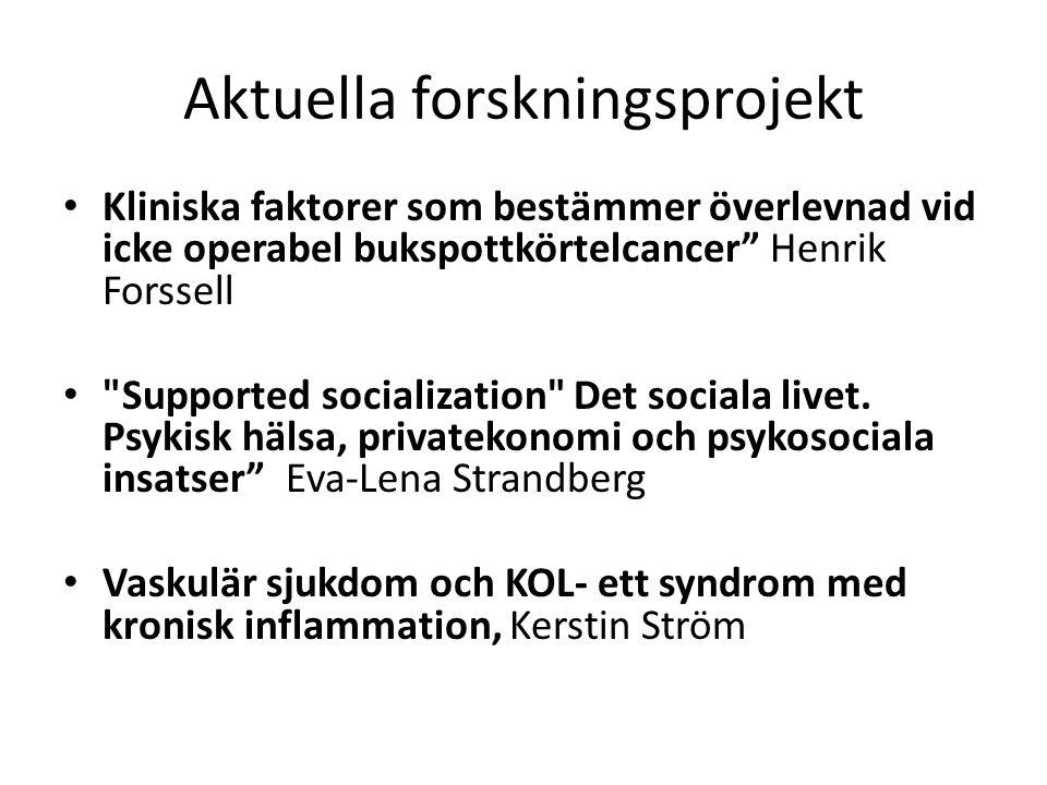 """Aktuella forskningsprojekt Kliniska faktorer som bestämmer överlevnad vid icke operabel bukspottkörtelcancer"""" Henrik Forssell"""