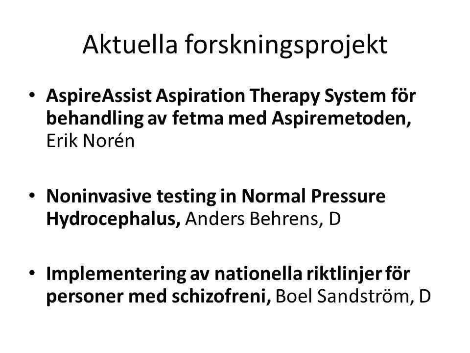 Aktuella forskningsprojekt AspireAssist Aspiration Therapy System för behandling av fetma med Aspiremetoden, Erik Norén Noninvasive testing in Normal