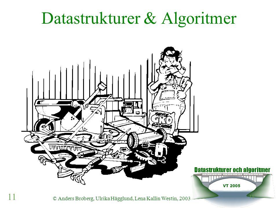 Datastrukturer och algoritmer VT 2005 11 © Anders Broberg, Ulrika Hägglund, Lena Kallin Westin, 2003 11 Datastrukturer & Algoritmer