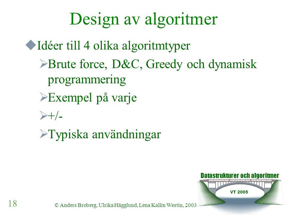 Datastrukturer och algoritmer VT 2005 18 © Anders Broberg, Ulrika Hägglund, Lena Kallin Westin, 2003 18 Design av algoritmer  Idéer till 4 olika algo