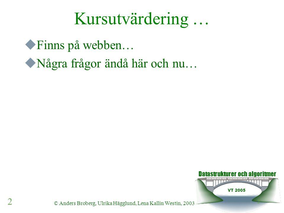 Datastrukturer och algoritmer VT 2005 2 © Anders Broberg, Ulrika Hägglund, Lena Kallin Westin, 2003 2 Kursutvärdering …  Finns på webben…  Några frå