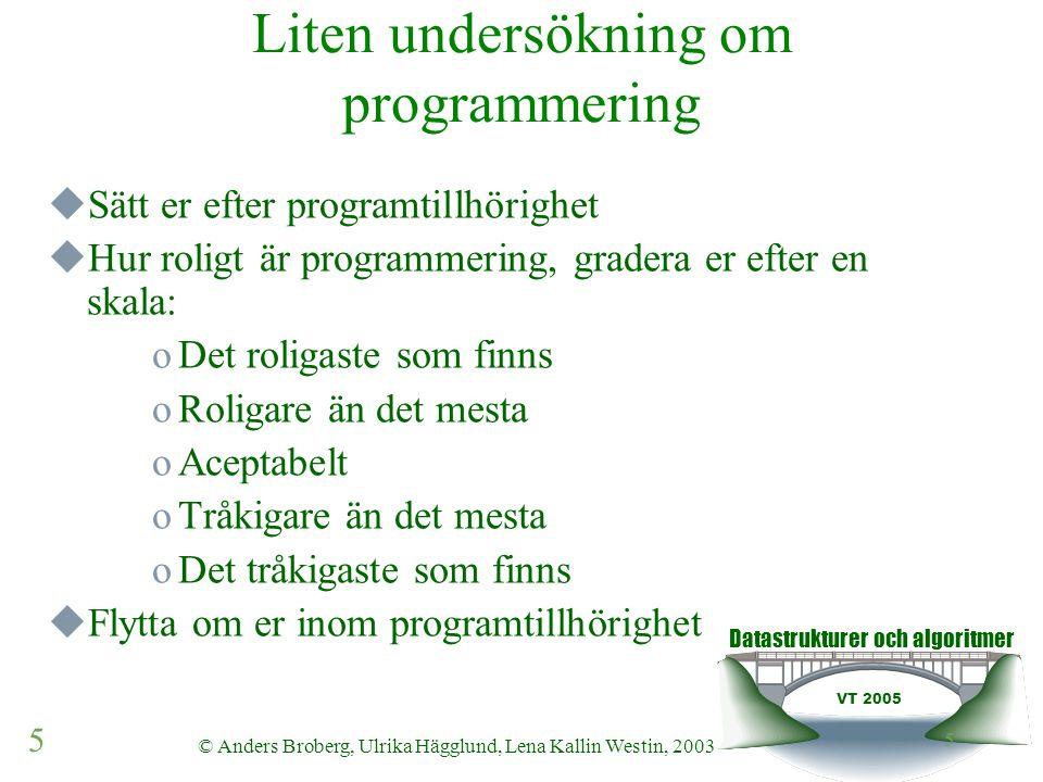 Datastrukturer och algoritmer VT 2005 16 © Anders Broberg, Ulrika Hägglund, Lena Kallin Westin, 2003 16 Sökning (traversering)  Vad är traversering  Olika metoder för sökning i sekvenser  Linjär & Binär  +/-  Ställer de några krav på implementationen av ADTn