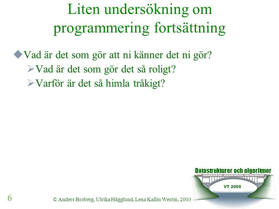 Datastrukturer och algoritmer VT 2005 6 © Anders Broberg, Ulrika Hägglund, Lena Kallin Westin, 2003 6 Liten undersökning om programmering fortsättning