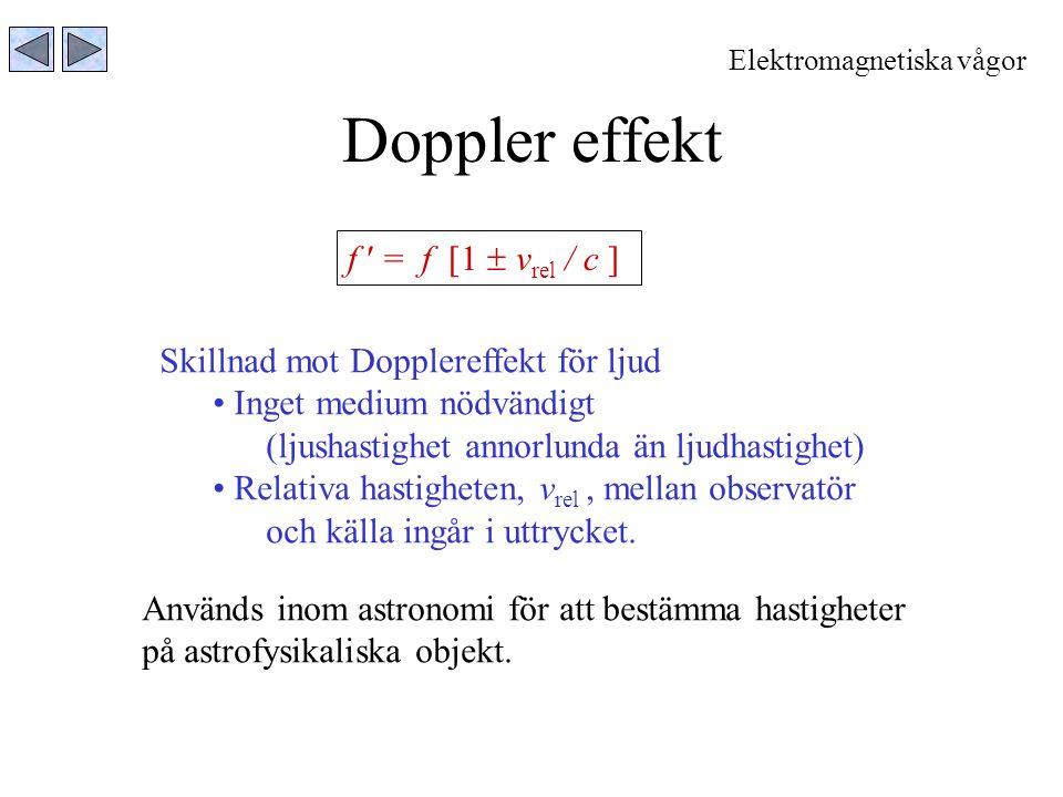 Doppler effekt Elektromagnetiska vågor f = f [1  v rel / c ] Skillnad mot Dopplereffekt för ljud Inget medium nödvändigt (ljushastighet annorlunda än