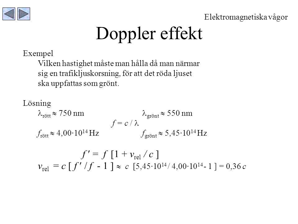 Doppler effekt Exempel Vilken hastighet måste man hålla då man närmar sig en trafikljuskorsning, för att det röda ljuset ska uppfattas som grönt. Lösn