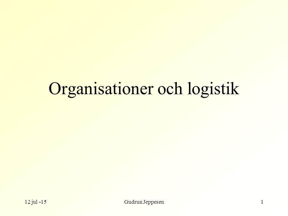 12 jul -15Gudrun Jeppesen1 Organisationer och logistik