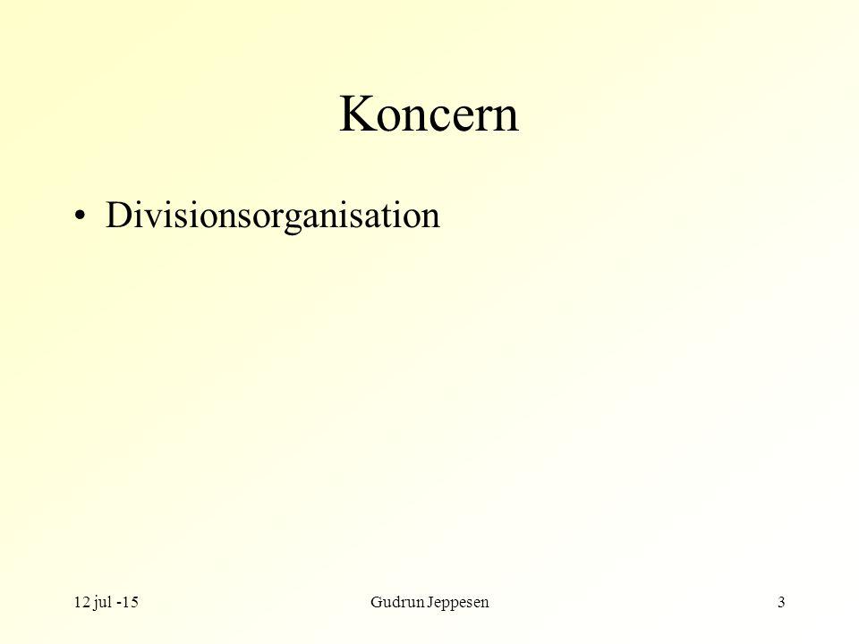 12 jul -15Gudrun Jeppesen3 Koncern Divisionsorganisation