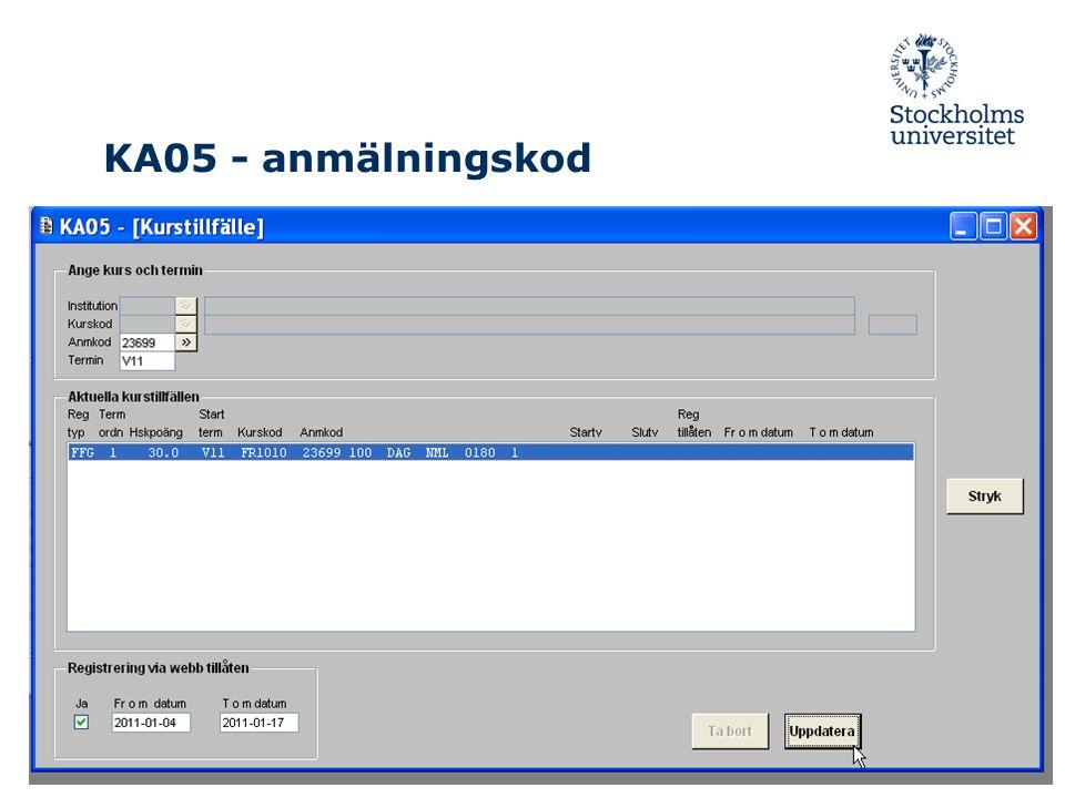 KA05 - anmälningskod