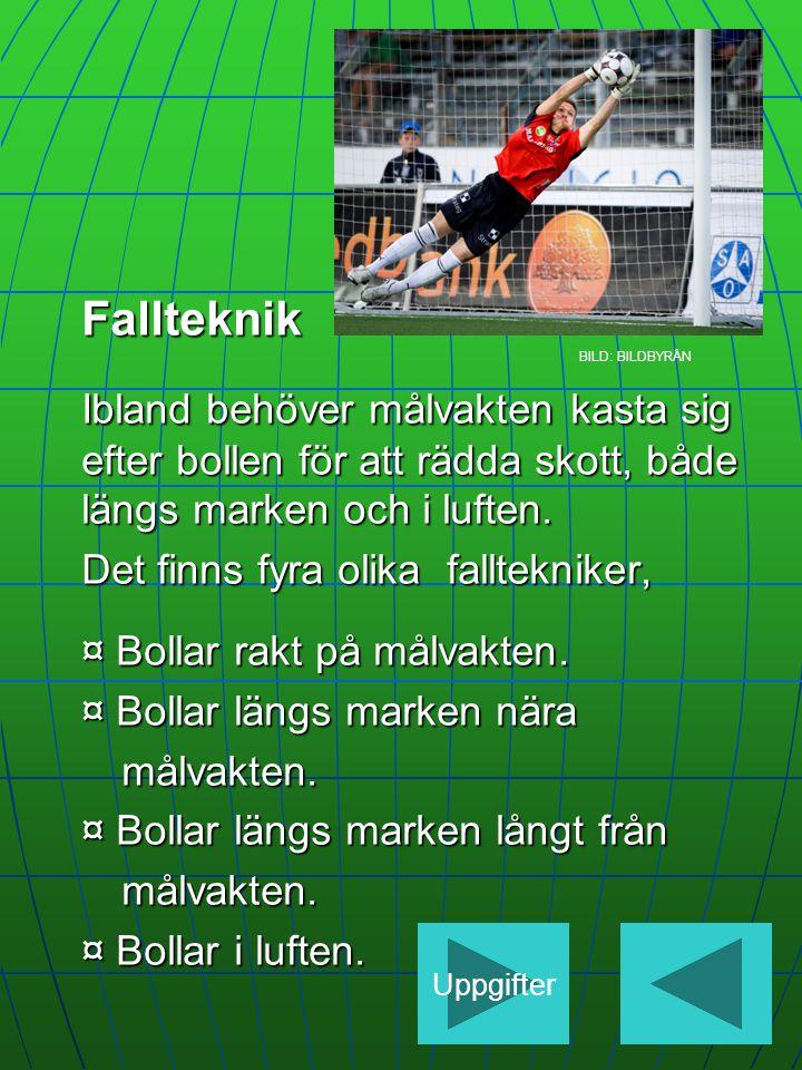 Fallteknik BILD: BILDBYRÅN Ibland behöver målvakten kasta sig efter bollen för att rädda skott, både längs marken och i luften.