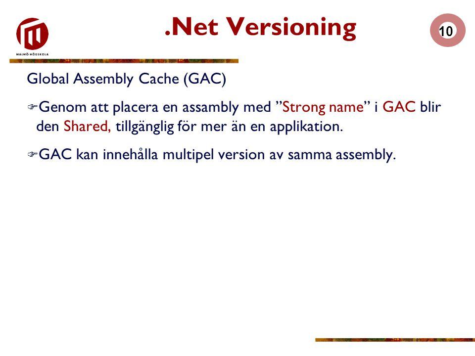 10.Net Versioning Global Assembly Cache (GAC)  Genom att placera en assambly med Strong name i GAC blir den Shared, tillgänglig för mer än en applikation.