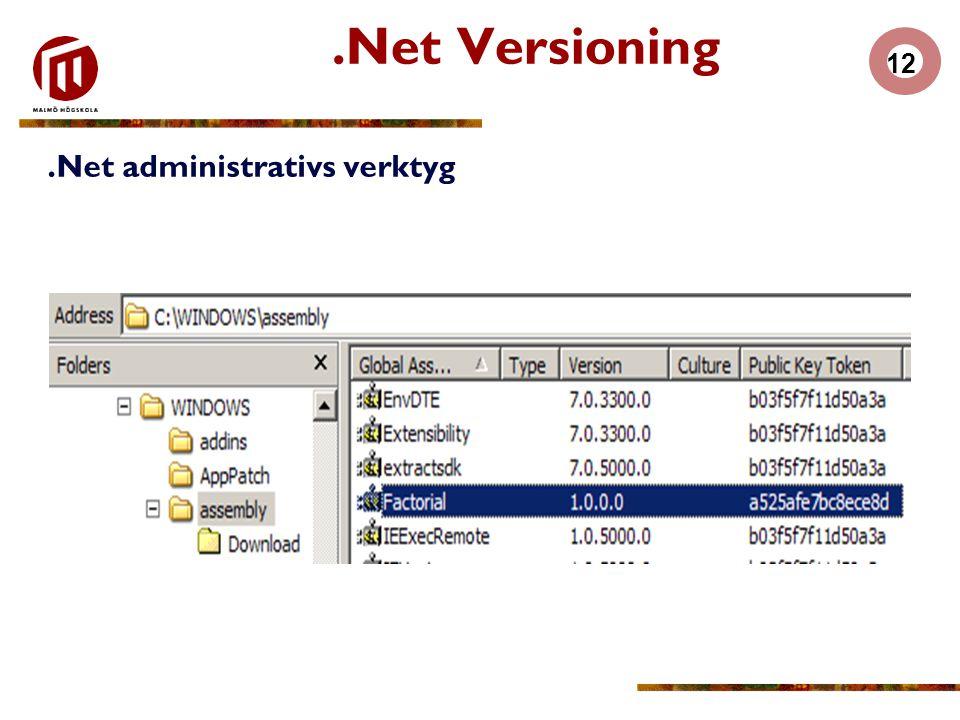 12.Net Versioning.Net administrativs verktyg