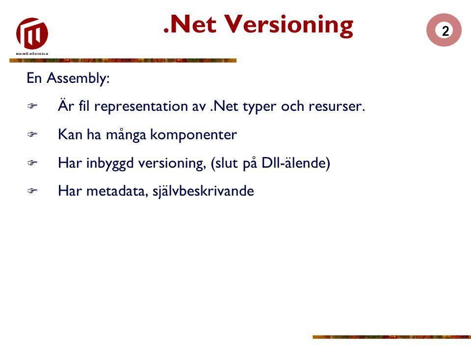 2.Net Versioning En Assembly:  Är fil representation av.Net typer och resurser.  Kan ha många komponenter  Har inbyggd versioning, (slut på Dll-äle