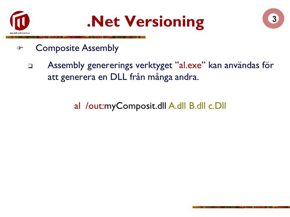 """3.Net Versioning  Composite Assembly  Assembly genererings verktyget """"al.exe"""" kan användas för att generera en DLL från många andra. al /out:myCompo"""