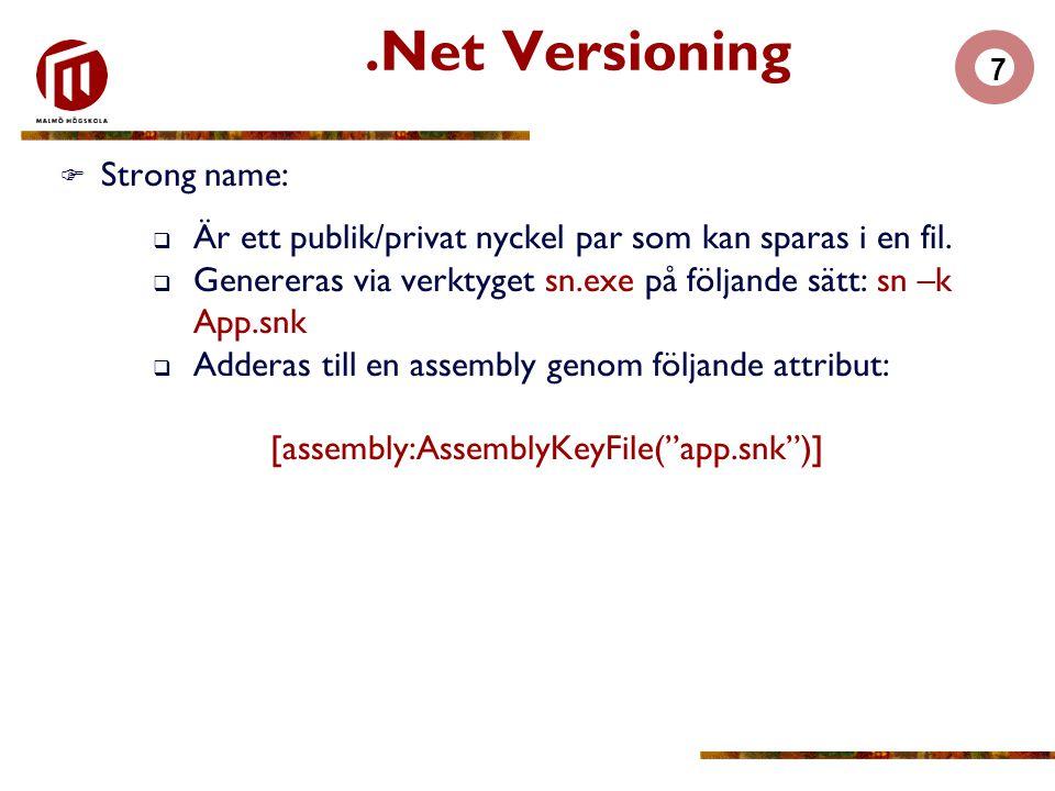 7  Strong name:  Är ett publik/privat nyckel par som kan sparas i en fil.  Genereras via verktyget sn.exe på följande sätt: sn –k App.snk  Adderas