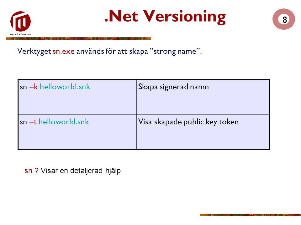 """8.Net Versioning Verktyget sn.exe används för att skapa """"strong name"""". sn –k helloworld.snkSkapa signerad namn sn –t helloworld.snkVisa skapade public"""