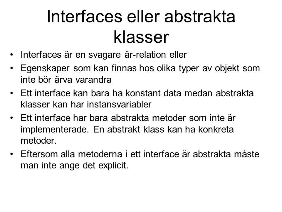 Interfaces eller abstrakta klasser Interfaces är en svagare är-relation eller Egenskaper som kan finnas hos olika typer av objekt som inte bör ärva va