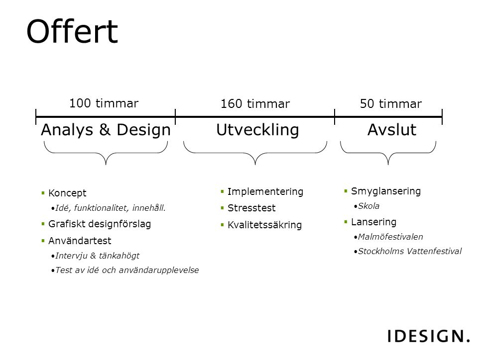 Analys & DesignUtvecklingAvslut  Koncept Idé, funktionalitet, innehåll.
