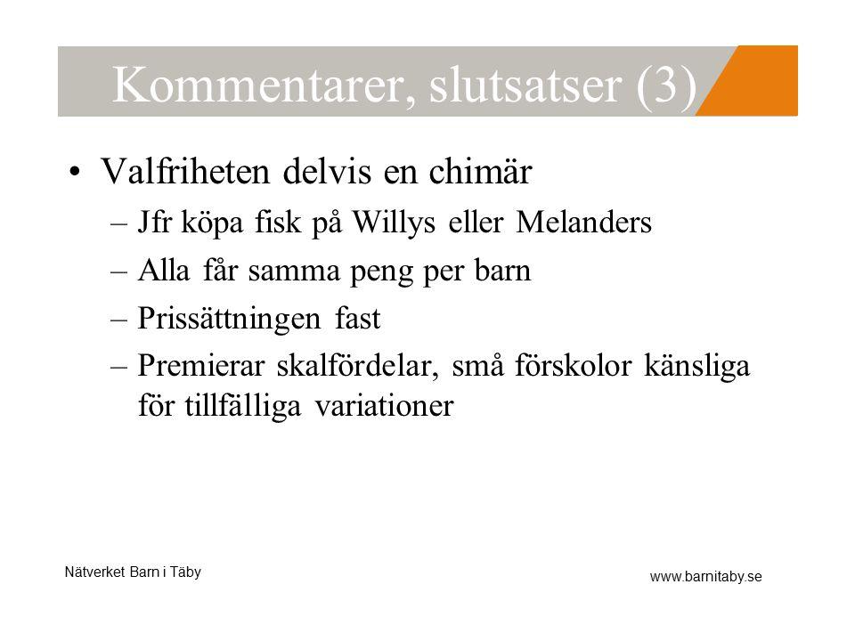 Nätverket Barn i Täby www.barnitaby.se Kommentarer, slutsatser (3) Valfriheten delvis en chimär –Jfr köpa fisk på Willys eller Melanders –Alla får samma peng per barn –Prissättningen fast –Premierar skalfördelar, små förskolor känsliga för tillfälliga variationer