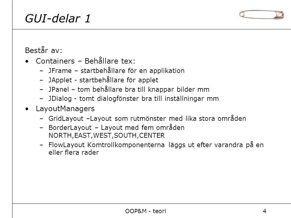OOP&M - teori4 GUI-delar 1 Består av: Containers – Behållare tex: –JFrame – startbehållare för en applikation –JApplet - startbehållare för applet –JPanel – tom behållare bra till knappar bilder mm –JDialog - tomt dialogfönster bra till inställningar mm LayoutManagers –GridLayout –Layout som rutmönster med lika stora områden –BorderLayout – Layout med fem områden NORTH,EAST,WEST,SOUTH,CENTER –FlowLayout Komtrollkomponenterna läggs ut efter varandra på en eller flera rader