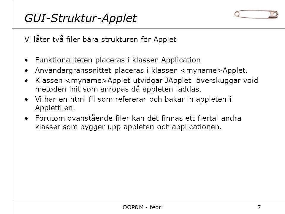 OOP&M - teori7 GUI-Struktur-Applet Vi låter två filer bära strukturen för Applet Funktionaliteten placeras i klassen Application Användargränssnittet placeras i klassen Applet.