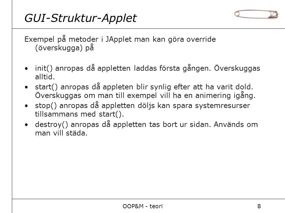 OOP&M - teori8 GUI-Struktur-Applet Exempel på metoder i JApplet man kan göra override (överskugga) på init() anropas då appletten laddas första gången.
