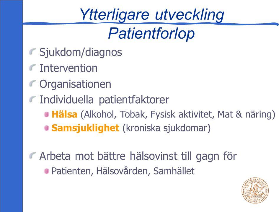 Ytterligare utveckling Patientforlop Sjukdom/diagnos Intervention Organisationen Individuella patientfaktorer Hälsa (Alkohol, Tobak, Fysisk aktivitet, Mat & näring) Samsjuklighet (kroniska sjukdomar) Arbeta mot bättre hälsovinst till gagn för Patienten, Hälsovården, Samhället