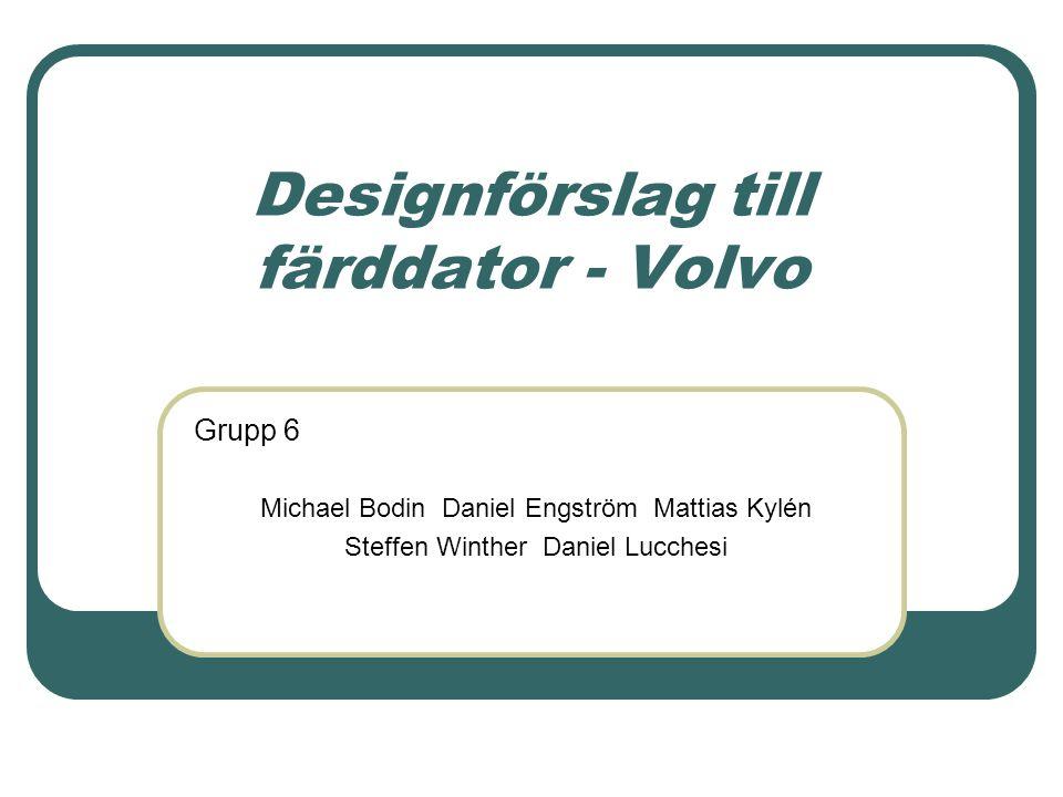 Designförslag till färddator - Volvo Michael Bodin Daniel Engström Mattias Kylén Steffen Winther Daniel Lucchesi Grupp 6