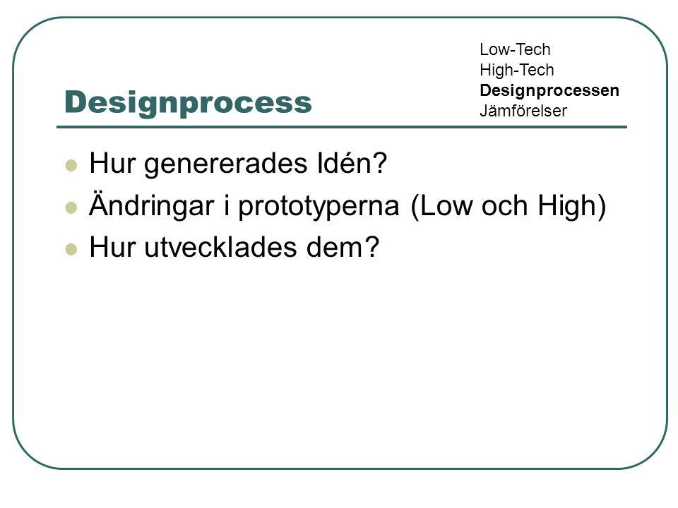 Designprocess Hur genererades Idén? Ändringar i prototyperna (Low och High) Hur utvecklades dem? Low-Tech High-Tech Designprocessen Jämförelser
