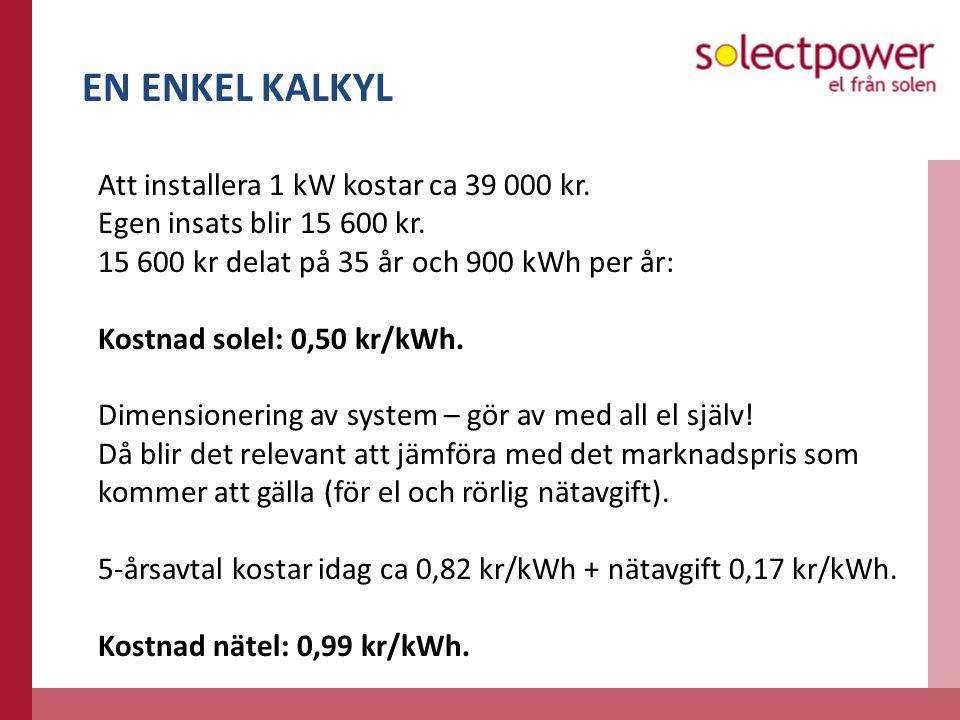 EN ENKEL KALKYL Att installera 1 kW kostar ca 39 000 kr.
