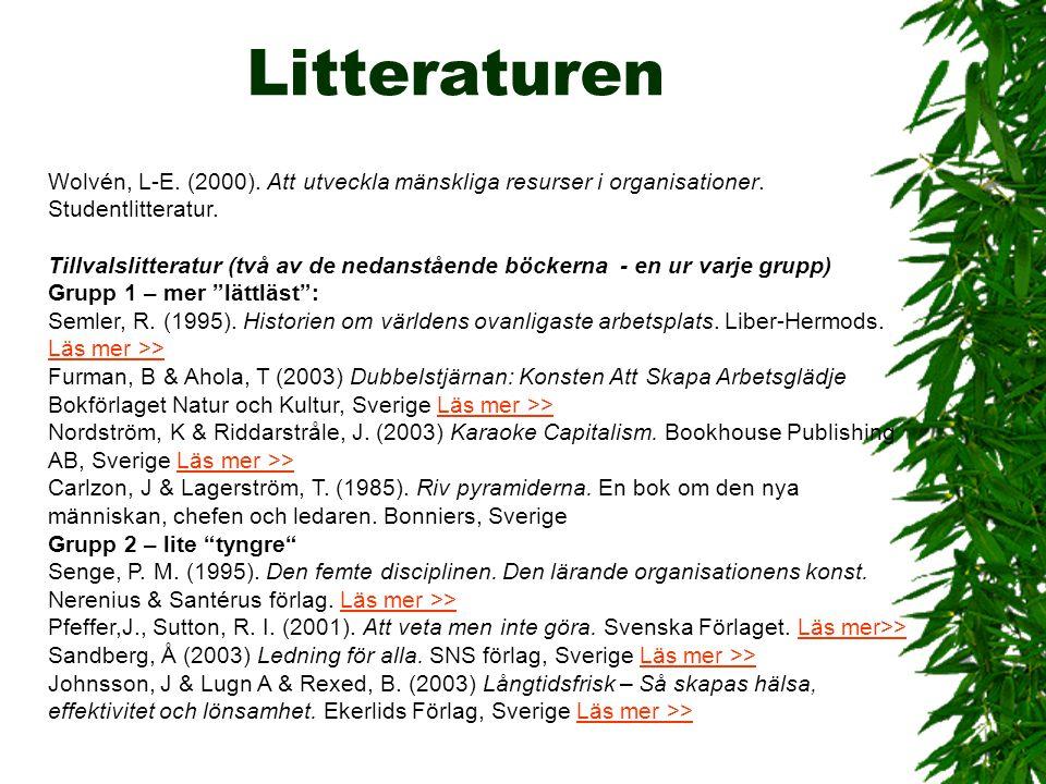 Litteraturen Wolvén, L-E. (2000). Att utveckla mänskliga resurser i organisationer. Studentlitteratur. Tillvalslitteratur (två av de nedanstående böck