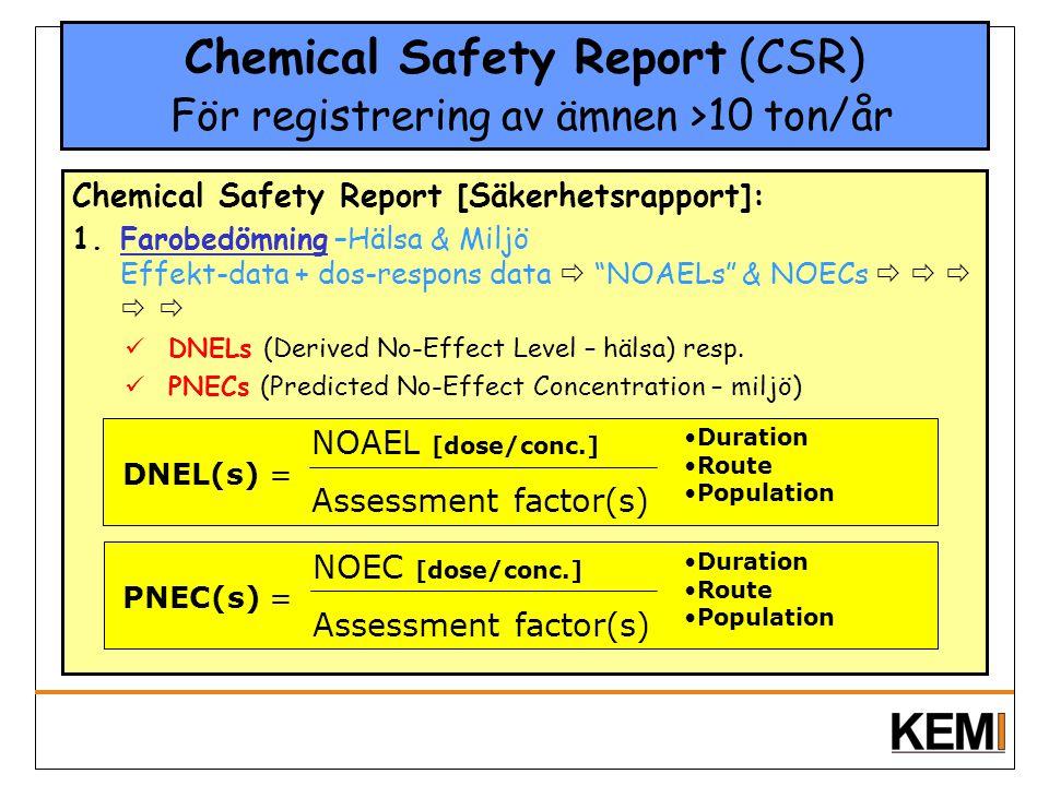 Chemical Safety Report (CSR) För registrering av ämnen >10 ton/år Chemical Safety Report [Säkerhetsrapport]: 1.Farobedömning –Hälsa & Miljö Effekt-dat