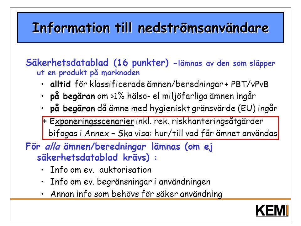 Information till nedströmsanvändare Säkerhetsdatablad (16 punkter) - lämnas av den som släpper ut en produkt på marknaden alltid för klassificerade äm