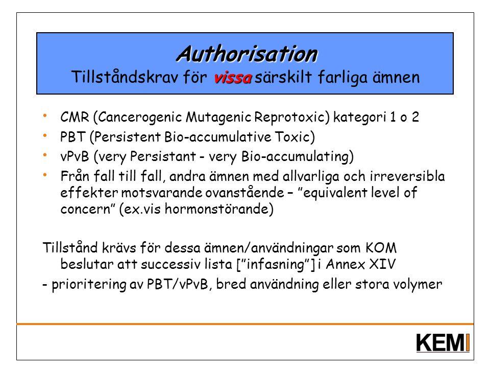 Authorisation vissa Authorisation Tillståndskrav för vissa särskilt farliga ämnen CMR (Cancerogenic Mutagenic Reprotoxic) kategori 1 o 2 PBT (Persiste