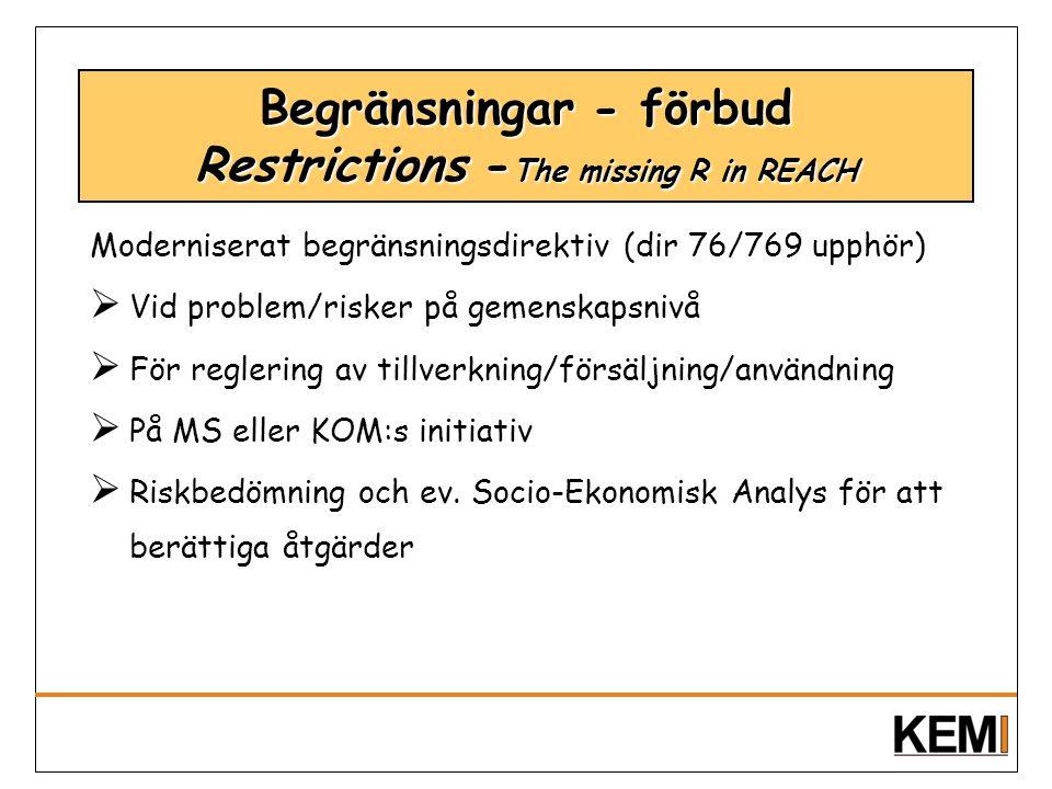 Begränsningar - förbud Restrictions - The missing R in REACH Moderniserat begränsningsdirektiv (dir 76/769 upphör)  Vid problem/risker på gemenskapsn