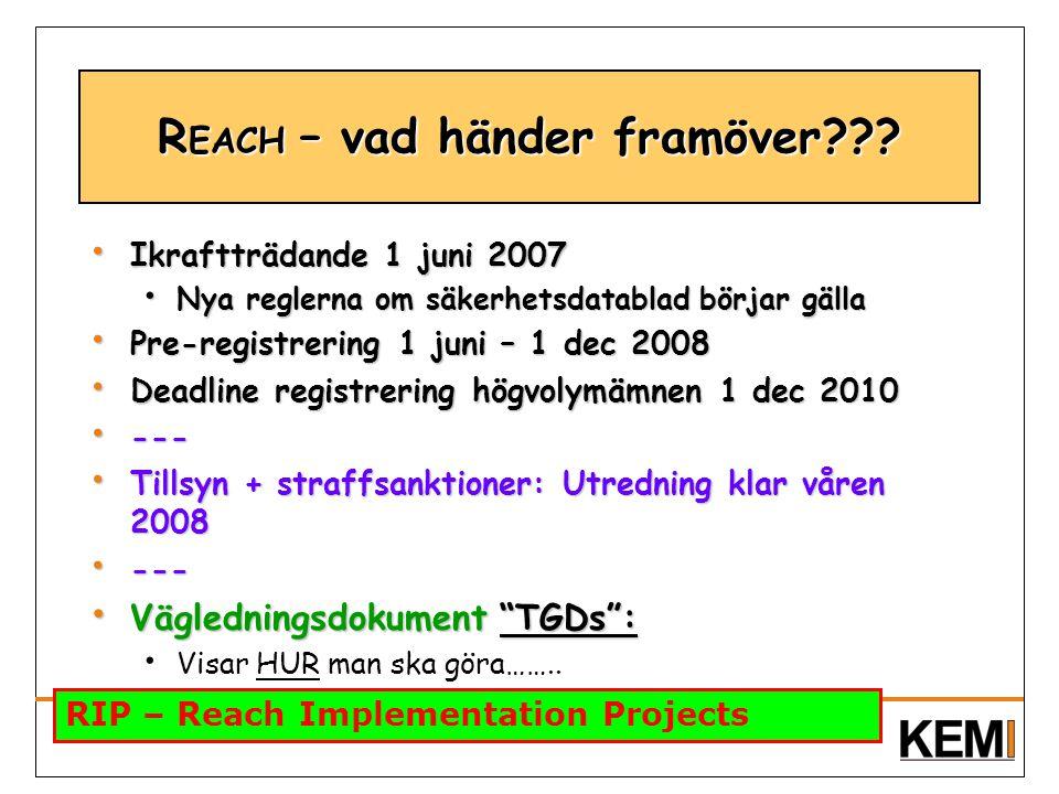 Ikraftträdande 1 juni 2007 Ikraftträdande 1 juni 2007 Nya reglerna om säkerhetsdatablad börjar gälla Nya reglerna om säkerhetsdatablad börjar gälla Pr