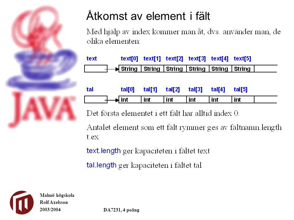 Malmö högskola Rolf Axelsson 2003/2004 DA7231, 4 poäng Åtkomst av element i fält