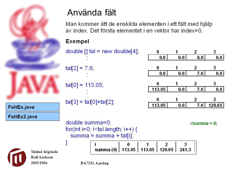 Malmö högskola Rolf Axelsson 2003/2004 DA7231, 4 poäng Använda fält FaltEx.java FaltEx2.java