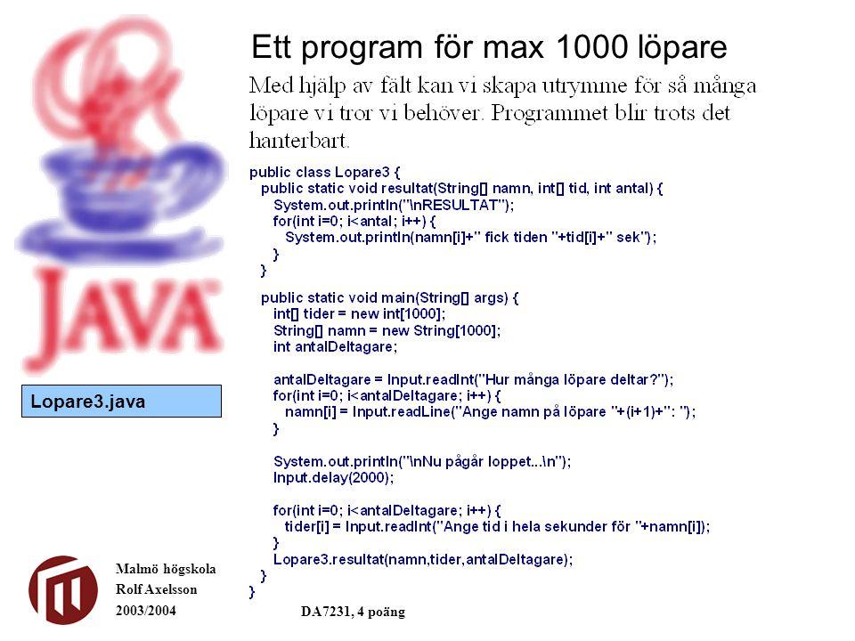 Malmö högskola Rolf Axelsson 2003/2004 DA7231, 4 poäng Ett program för max 1000 löpare Lopare3.java
