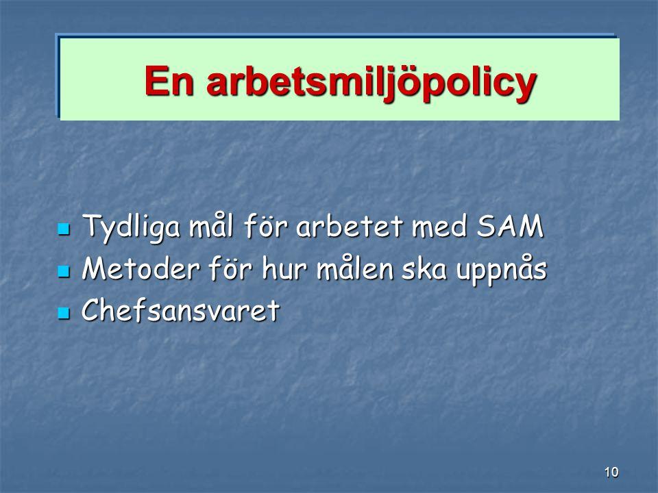 10 En arbetsmiljöpolicy Tydliga mål för arbetet med SAM Tydliga mål för arbetet med SAM Metoder för hur målen ska uppnås Metoder för hur målen ska upp