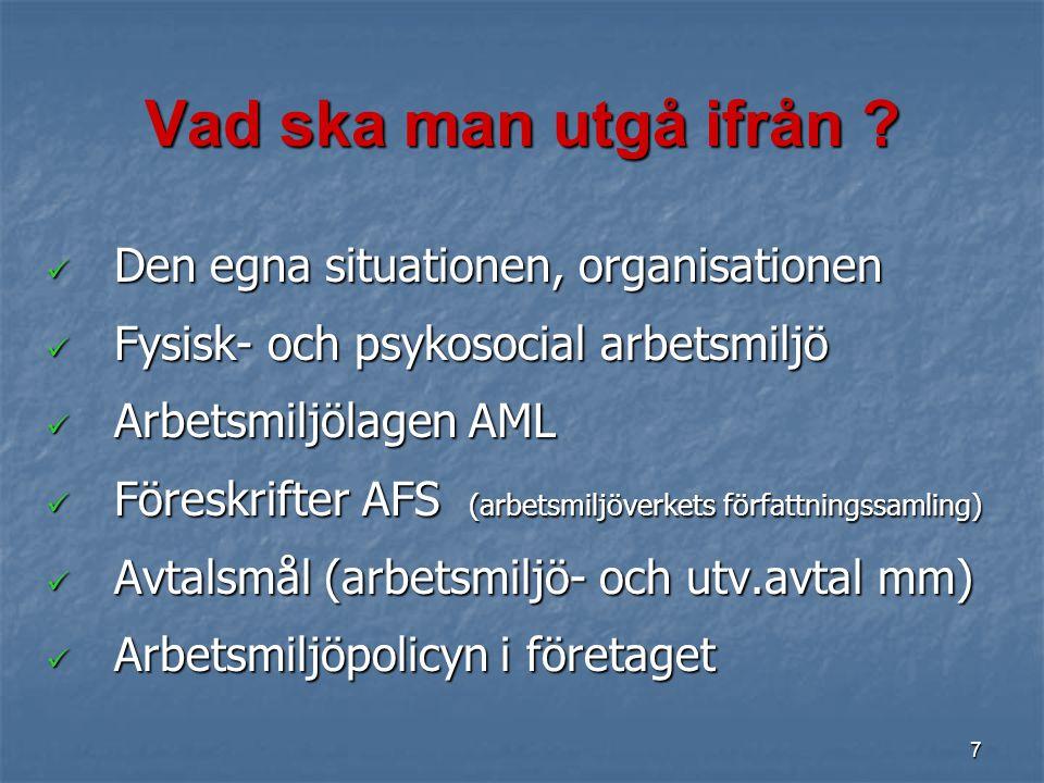 7 Den egna situationen, organisationen Den egna situationen, organisationen Fysisk- och psykosocial arbetsmiljö Fysisk- och psykosocial arbetsmiljö Ar