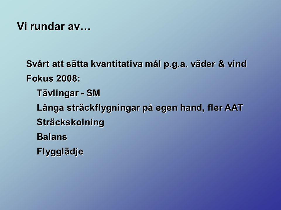 Vi rundar av… Svårt att sätta kvantitativa mål p.g.a. väder & vind Fokus 2008: Tävlingar - SM Långa sträckflygningar på egen hand, fler AAT Sträckskol