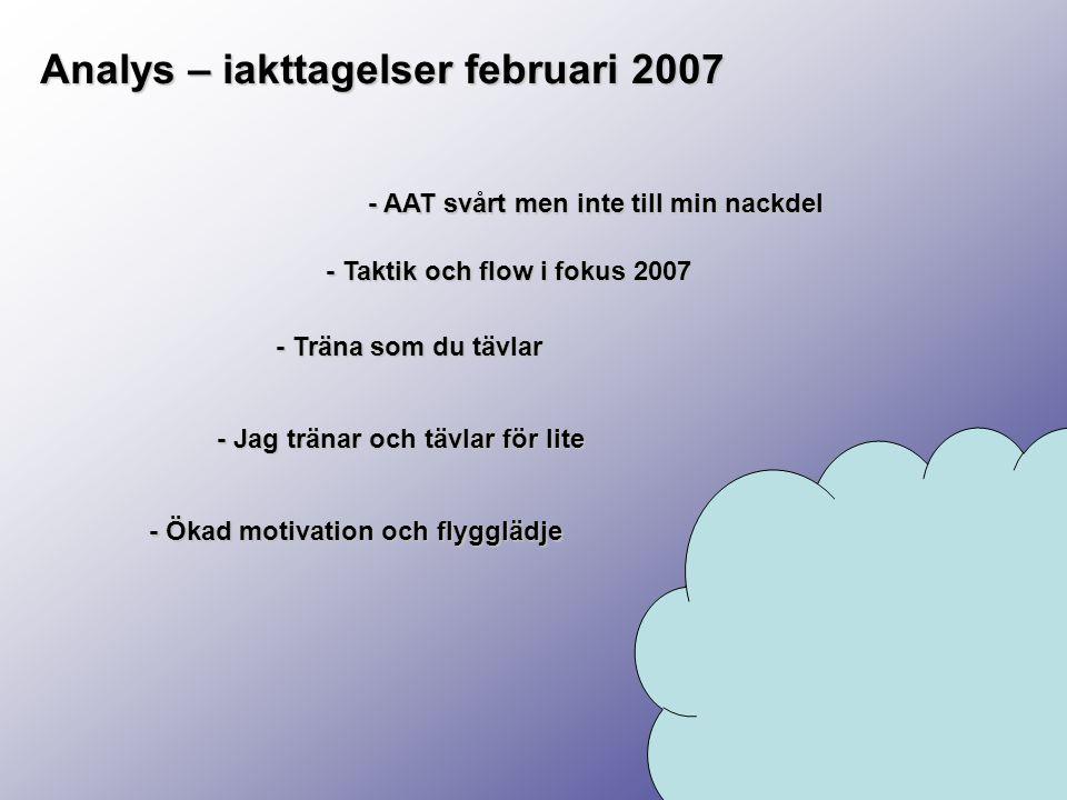 Analys – iakttagelser februari 2007 - Ökad motivation och flygglädje - AAT svårt men inte till min nackdel - Taktik och flow i fokus 2007 - Träna som du tävlar - Jag tränar och tävlar för lite