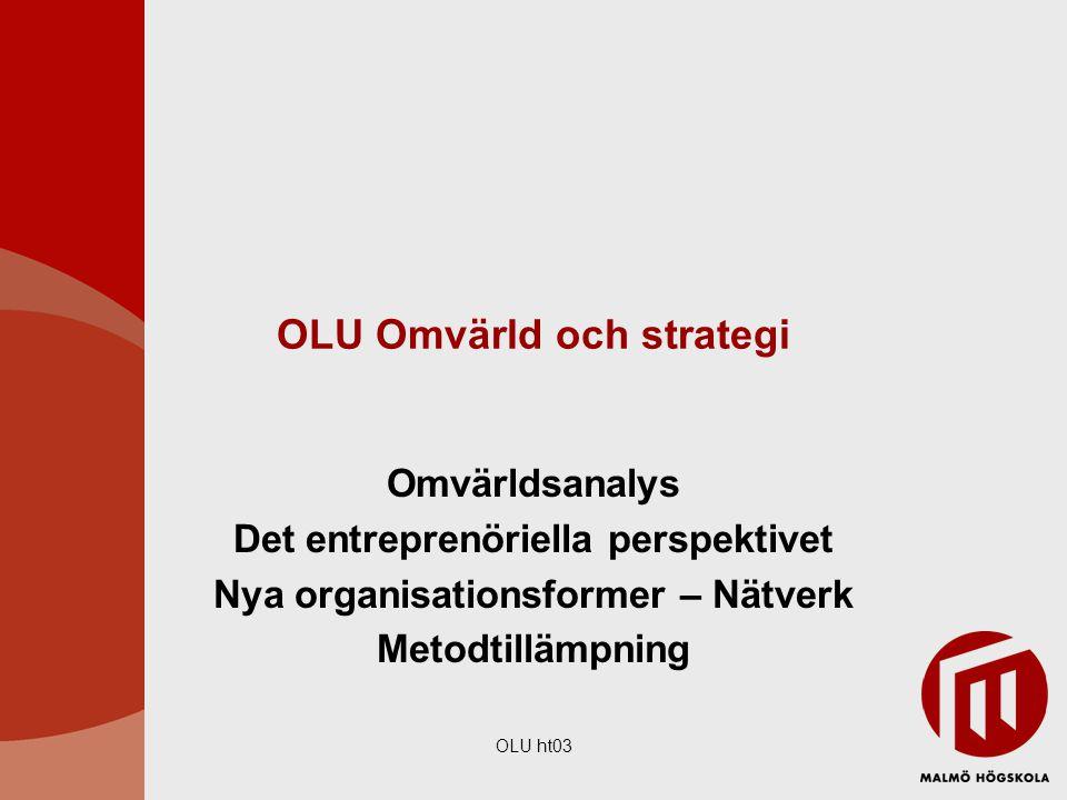 OLU ht03 OLU Omvärld och strategi Omvärldsanalys Det entreprenöriella perspektivet Nya organisationsformer – Nätverk Metodtillämpning