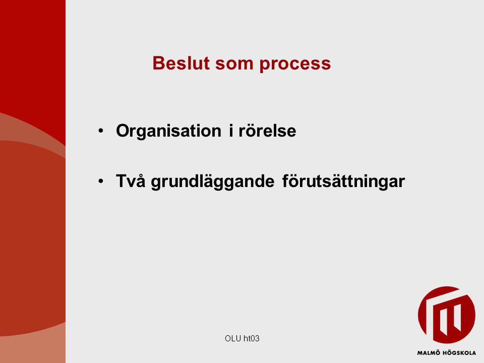OLU ht03 Beslut som process Organisation i rörelse Två grundläggande förutsättningar
