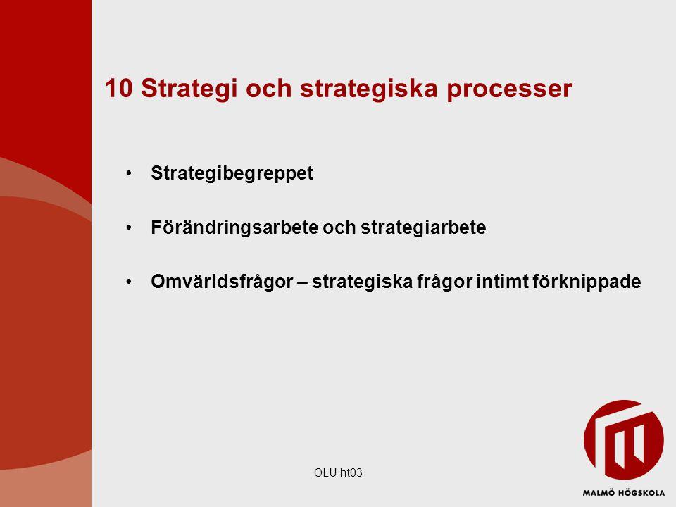 OLU ht03 10 Strategi och strategiska processer Strategibegreppet Förändringsarbete och strategiarbete Omvärldsfrågor – strategiska frågor intimt förkn