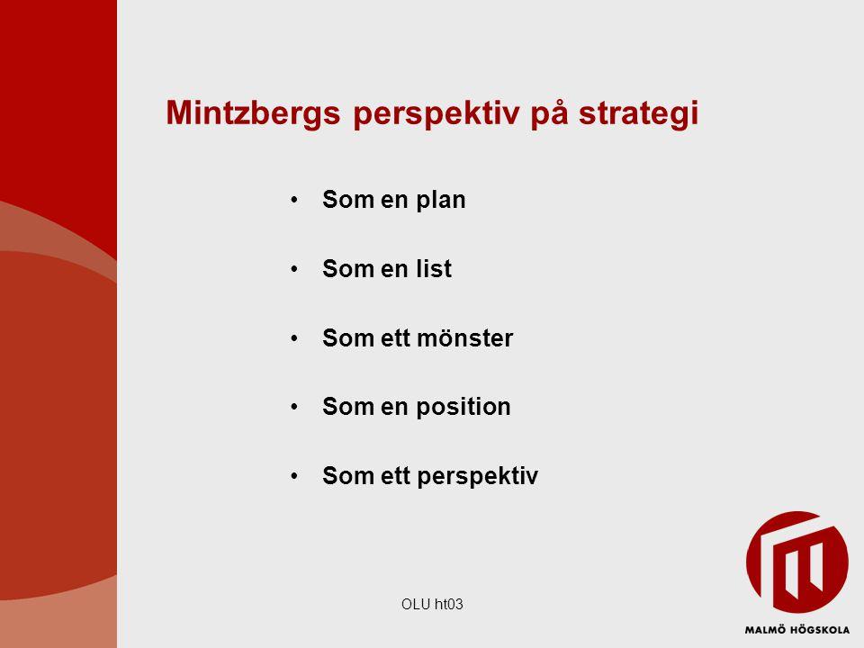 OLU ht03 Mintzbergs perspektiv på strategi Som en plan Som en list Som ett mönster Som en position Som ett perspektiv