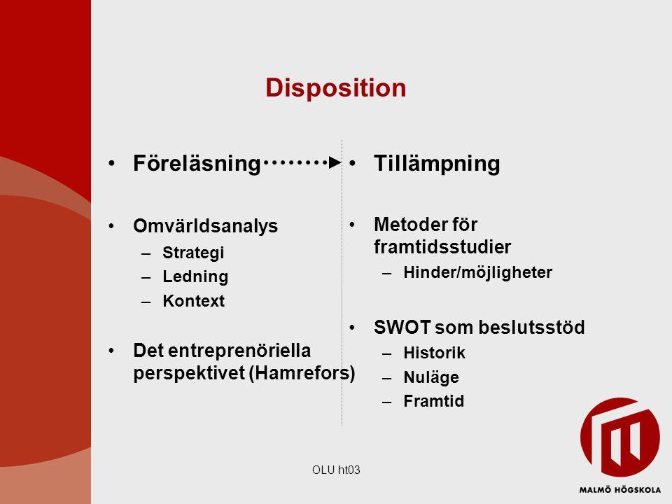 OLU ht03 Disposition Föreläsning Omvärldsanalys –Strategi –Ledning –Kontext Det entreprenöriella perspektivet (Hamrefors) Tillämpning Metoder för fram