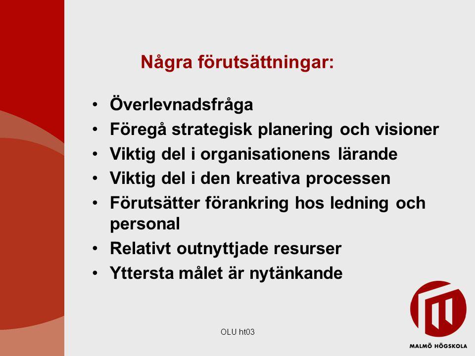 OLU ht03 Några förutsättningar: Överlevnadsfråga Föregå strategisk planering och visioner Viktig del i organisationens lärande Viktig del i den kreati