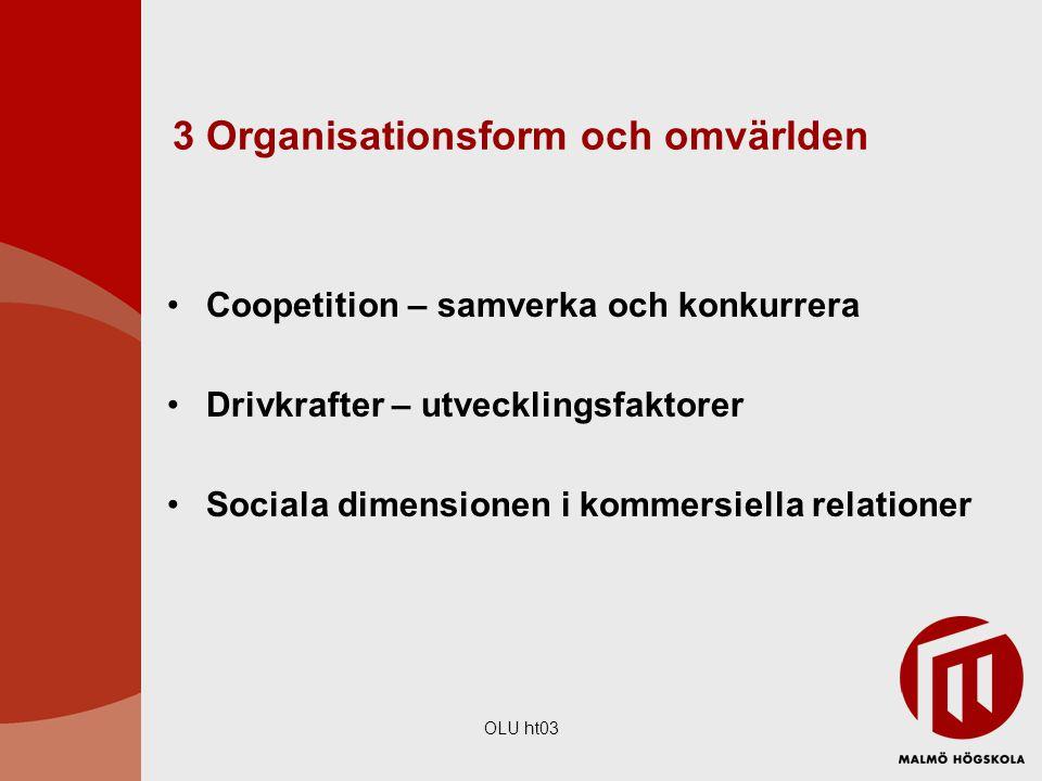 OLU ht03 3 Organisationsform och omvärlden Coopetition – samverka och konkurrera Drivkrafter – utvecklingsfaktorer Sociala dimensionen i kommersiella