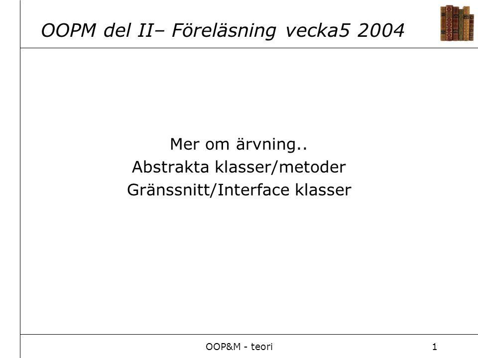 OOP&M - teori1 OOPM del II– Föreläsning vecka5 2004 Mer om ärvning.. Abstrakta klasser/metoder Gränssnitt/Interface klasser